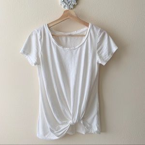 BP white crewneck knot tie tee shirt